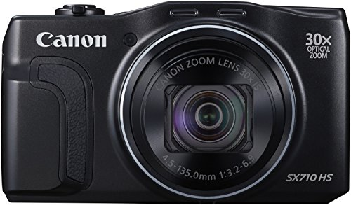 Canon PowerShot SX710 HS Digitalkamera (20,3 MPCMOS, 30-fach opt. Zoom, 60-fach ZoomPlus, 7,5cm (3 Zoll) Display, opt. Bildstabilisator, Full HD Movie 60p, WLAN, NFC) schwarz
