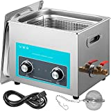 Mophorn 6L Ultrasonic Cleaner 304 Stainless Steel Professional Knob Control Ultrasonic Cleaners with HeaterTimer for Jewelry Watch Glasses Circuit Board Dentures Small Parts Dental Instrument