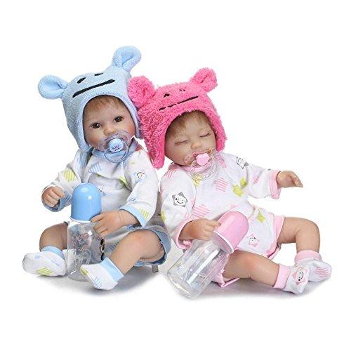 YIHANGG Gemelli Simulazione Baby Doll Reborn Corpo Silicone Vinile 16 Pollici 40 Cm Bocca Magnetica Full Alive Baby Vero Ventre Giocattolo per Bambini Regalo di Compleanno,Twins