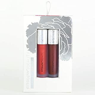 Fitglow Beauty Lip Color Serum Duo, Juice & Deep - Organic Lip Gloss 2-Pack with Vegan Collagen & Beet Extract (20g)