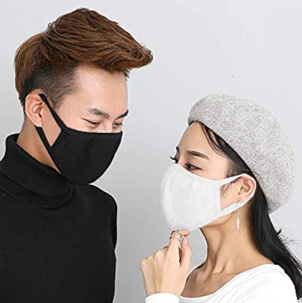 Fani 6 Packs Adult Mouth Masks for Men and Women Activated Carbon Cotton Anti-dust Windproof Fashion Warmer Mouth Face Masks(Black and White)
