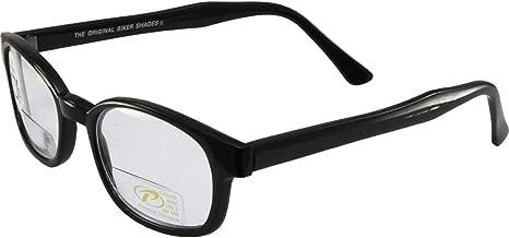 The Original KD's Biker Shades By PCSUN Black Frames +2.50 Magnification Clear Lenses