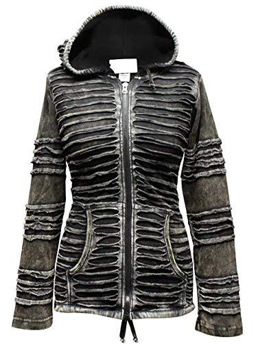Shopoholic De Moda Para Dama Rasgada Negro Duende Gótico Estriado Chaqueta Con Capucha - algodón, Negro, 100% estriado 95% de 100% algodón, Mujer, Small