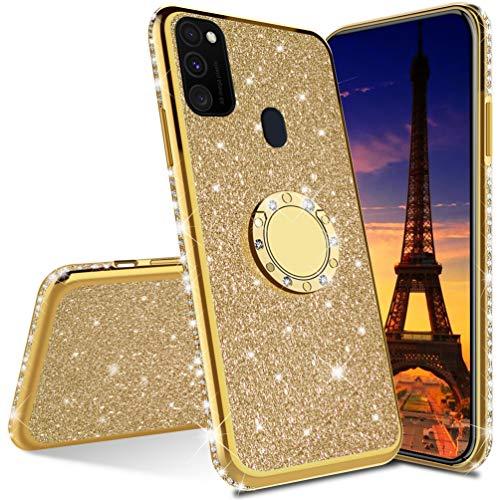 COTDINFORCA Case per Samsung Galaxy A21S Custodia Magro Glitter Diamond Shining Slim Case Cellulare Ragazze Bling Protettivo Antiurto Plating Soft TPU Cover per Samsung Galaxy A21S - Gold Glitter