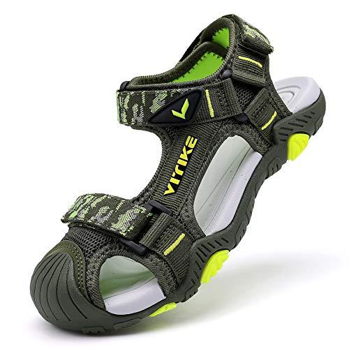 Sandalias para niño Sandalias Deportivas Zapatillas de Trekking Sandalias de Senderismo Niña Sandalias de Vestir(D Verde,29 EU)