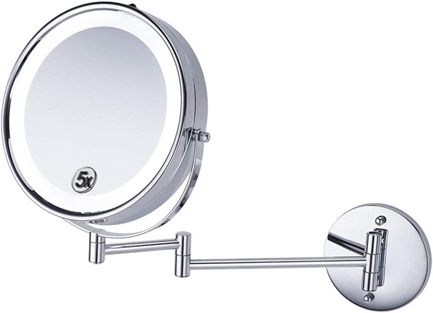Countertop Vanity Mirrors Makeup Mirror Led with Light Bathroom Vanity Mirror Folding Beauty Wall Hanging Telescopic Bathroom Bathroom Mirror Magnifying Glass Beautiful Girl Must (color   Silver)