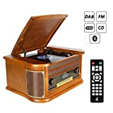 Plattenspieler 7-in-1 Vinyl Turntable de dl Record Player Vintage Holz mit Bluetooth, UKW-Radio, Integrierte Stereo-Lautsprecher, CD/MP3/Cassette Spielen,/USB Play & Encoding (DL-189BD-99)