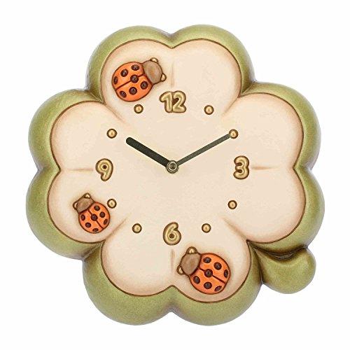 THUN - Orologio da Parete a Forma di Quadrifoglio con Coccinella - Accessori per la Casa - Ceramica - 33,3 x 32 x 9,1 cm