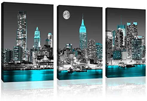Canvas prints Black and white New York city Wall Decoration Empire State Building skyline teal product image
