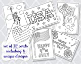Independence Day Coloring Cards Greetings 4 4th Fourth of July Color Pages Cards Patriotic God Bless America Liberty Statue Fireworks Kids DIY Crafts Grandchildren Printed Assortment Pack Flat Cards (12 Count)