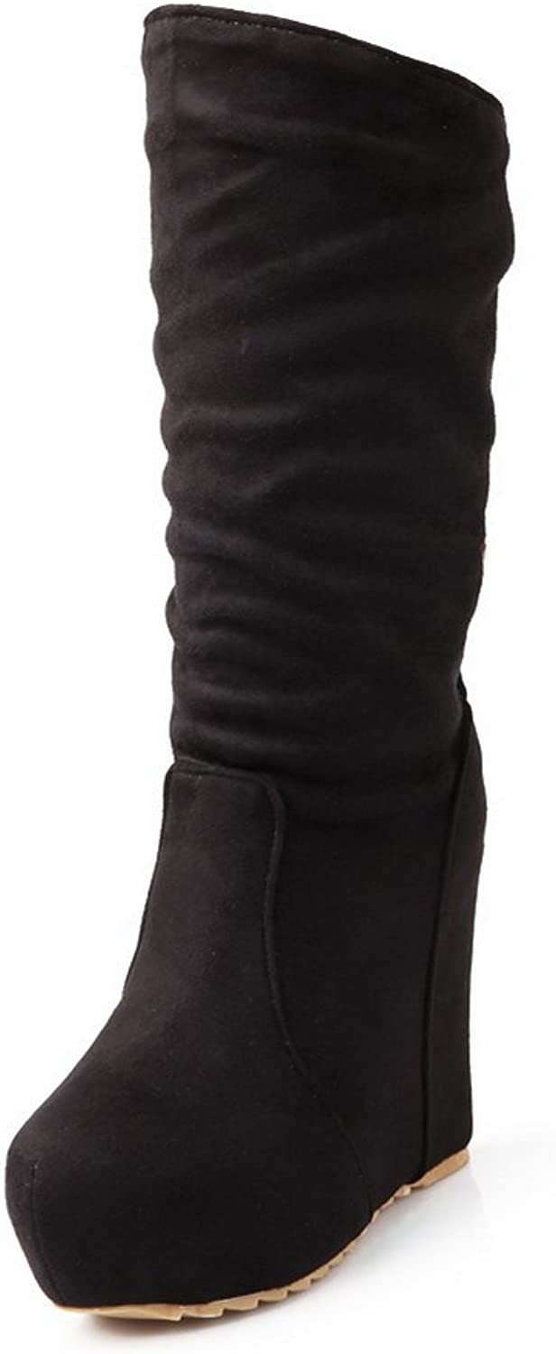 WeiPoot Women's Frosted Imitated Suede Round Closed Toe Mid-Calf High-Heels Boots, Black, 38