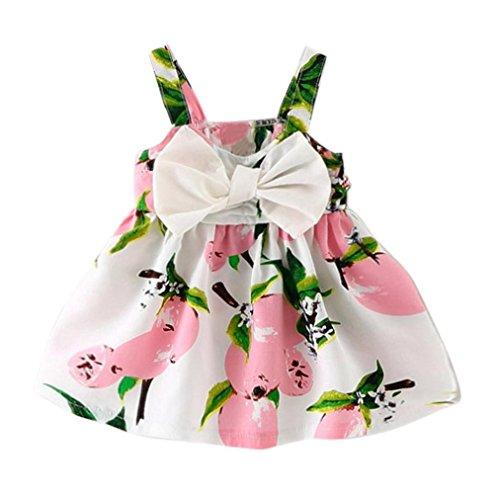 Baby meisjes zomerjurk Vovotrade citroen gedrukt infant outfit mouwloze prinses Gallus schattige bow knik jurk kinderen kleding geel roze