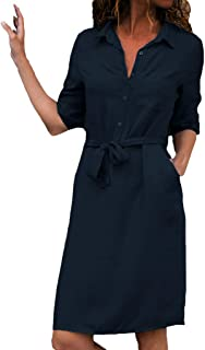 Women Daily Casual Dress Long Sleeve Button Loose Pleated Dress Ladies V-Neck Belted Work Mini Dress