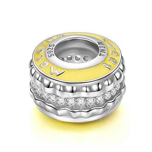 NINAQUEEN Charm Pandora Adattarsi Macaron Idee Regalo Donna Argento 925 Smalto Perline per la Madre Fidanzata Moglie