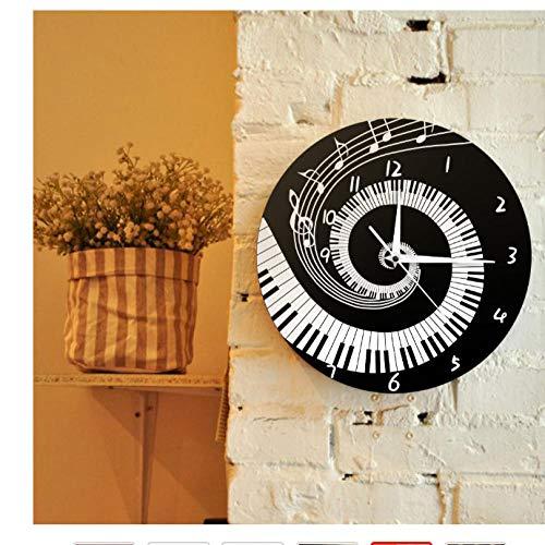 ZYZYY Elegant theellas de Piano en Blanco y Negro Reloj de pared de acrílico modern Notas de Música Teclado de Música Wave Round Regalo Para Amante de la Música Pianista