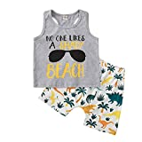 Kids Toddler Baby Boy Summer Clothes Sleeveless Sunglasses Vest Tank Top and Dinosaur Palm Shorts 2PCS Outfits Set (No one Likes a Shady Beach, 4T / 5T)