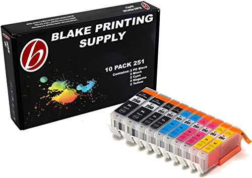 Blake Printing Supply 10 Pack Compatible Ink Cartridges for iP7220, iX6820, MG5420, MG5422, MG5520, MG5522, MG5620, MG6420, MG6620, MX722, MX922