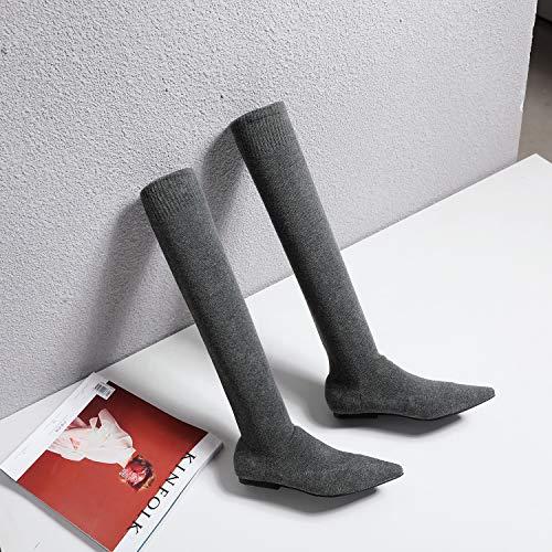 Shukun enkellaarsjes platte sokken, dameslaarzen, herfst en winter, puntige stretch, over de knie, dunne laarzen, vrouwen