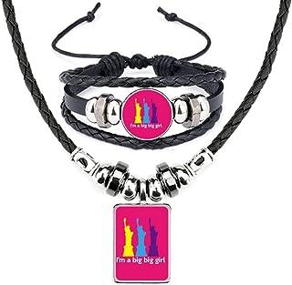 English Classic Emotional Lyrics Women Leather Necklace Bracelet Jewelry Set