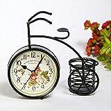 Cakunmik Reloj de Mesa de Tipo de Bicicleta de Hierro Vintage clásico sin tictac Silent Retro Decorativo Reloj de Bicicleta para Sala de Estar Cafe Bar Oficina Oficina Regalos