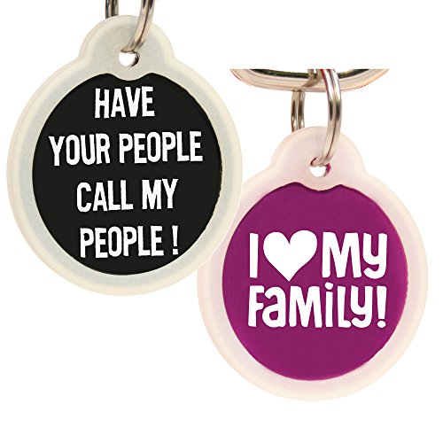 GoTags Funny Dog and Cat Tags Personalized with 4 Lines of Custom Engraved Text, Dog and Cat Collar ID Tags Come with Glow in The Dark Silencer to Protect Tag and Engraving, (Have Your People)
