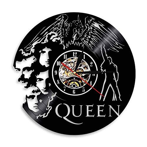 FXPCYGZ Wanduhr aus Vinyl Schallplattenuhr Upcycling 3D Queen Band Design-Uhr Wand-Deko Vintage Familien Zimmer Dekoration Kunst Geschenk, Durchmesser 30 cm