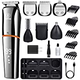 Ceenwes Beard Trimmer for Men 6 In 1 Hair Clippers Cordless Waterproof Multi-functional Grooming Kit USB Rechargeable Hair Trimmer for Nose Ear Facial Hair Body Trimmer With LCD Display Stand Base