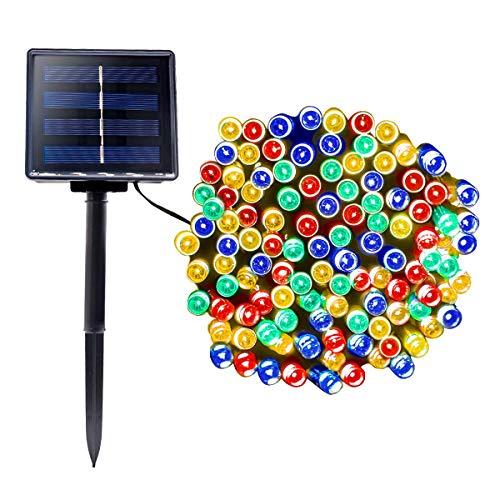 Wowlux Solar Powered String Lights, 72Ft 200 LED Solar Christmas Decoration Lights, 8 Modes Solar Fairy Waterproof Lights for Christmas Garden Wedding Party Valentine's Day Gift, Multi-Color