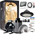 """CDMALL Grow Tent Complete Kit 32''x32''x63'' Dark Room with Five Hydroponics Growing Setup Accessories+300W LED Grow Light + 4"""" Carbon Filter Combo for Indoor Plants Hydroponics Growing System"""