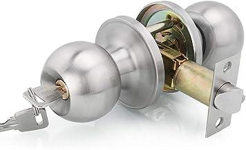 Qrity Acero Inoxidable Tirador de puerta Tirador de puerta Lock Lockset para entrada o Paso, Entrance, La Base de Cobre, Tamaño de Pestillo 60 / 70mm
