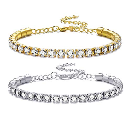 SOFTONES 2PCS Silver Gold Anklet for Women Shining Crystal Ankle Bracelts for Girls Beach Foot Bracelet Jewelry Gifts