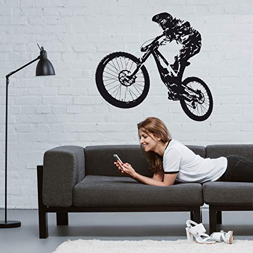 ROGX Wandtattoo Fahrrad Mountain-Bike Downhill 95cm x 93cm schwarz matt