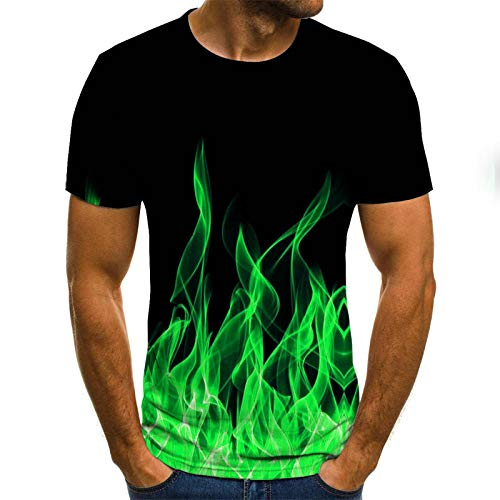 Blue and White Reflections Short Sleeve Polo Shirt with Sun Protection, Green Flame Seedling T-Shirt Male 3DT Shirt Short Sleeve Round Neck Digital Printing Casual Short Sleeve-Color_M