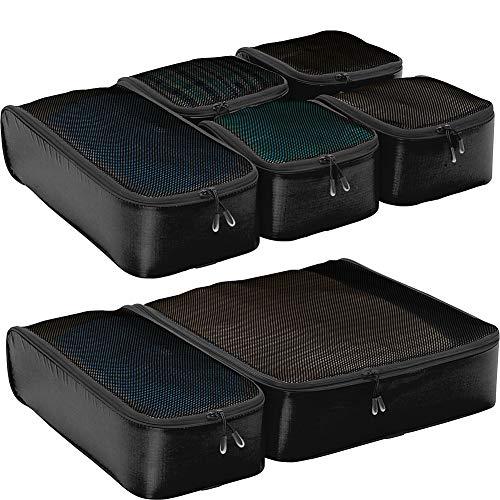 eBags Hyper-Lite Travel Packing Cubes - Lightweight - Ultimate Packer Organizers - 7pc Set - (Black)