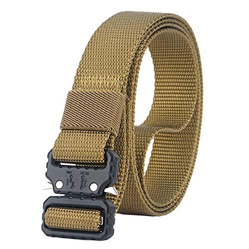 NiceShop16 Quick Release Nylon Belt Lightweight Heavy Duty Military Webbing Tactical Belts for Men 1 inch wide (Brown (Black Buckle))