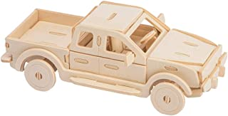 WOLFBUSH Wooden Model Toy Kit 3D Puzzles Build Car Set DIY Assembly Construction Jigsaw Colorable Puzzle for Kids (Truck)
