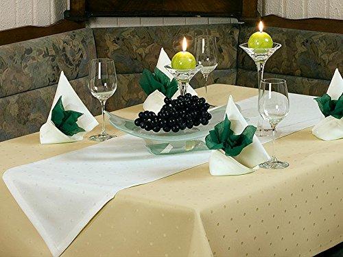 ODERTEX Tischdecke fleckabweisende Beschichtung Form und Größe sowie Farbe wählbar Pünktchen-sand-beige-10x18