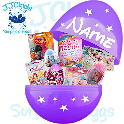 JJCkids - Huevo Gigante para niña de 14 Pulgadas, Relleno de Juguetes y Nombre Personalizado