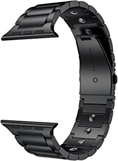 LDFAS Compatible for Apple Watch Band 44mm/42mm, Magnetic Therapy Stainless Steel Metal Link Bracelet Bands Compatible for Apple Watch Series 5/4/3/2/1, Black