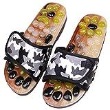 YTWD Masajeadores de pies para masaje de acupresión, para hombres y mujeres, sandalias de reflexología con zapatos de ducha adoquines naturales, color marrón jade, XXL