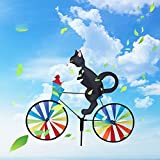 Bike Spinner Cat, Bicycle Metal Wind Spinner, Cat on Bicycle Wind Spinner, Animal Riding Bike Garden Windmill Decoration for Yard Patio Lawn