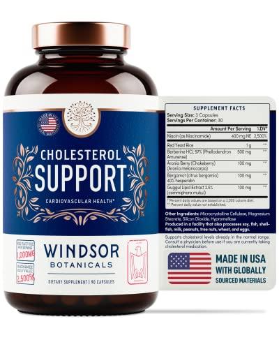 Cholesterol Lowering Heart Health Supplement - Windsor Botanicals High-Potency Red Yeast Rice, Aronia Berry, Niacin, Berberine, Bergamot Supplement for High Cholesterol - 90 Vegan Capsules