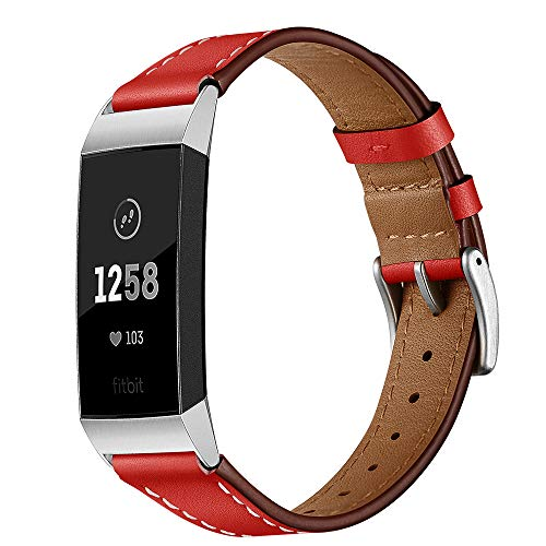 Dee Plus - Pulsera compatible con Fitbit Charge 3/4 de piel, correa de piel auténtica, correa de repuesto con hebilla de acero inoxidable, pulsera de piel unisex
