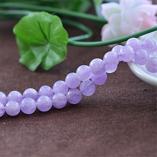 Grade AAA Natural Light Purple Jade Beads Lavender Color Jade NOT Dyed 6mm 8mm 10mm 12mm 14mm Smooth Polished Round 15 Inch Strand for Jewelry Making JA11