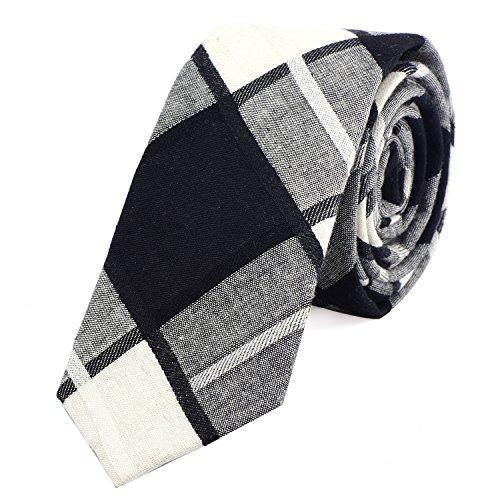 DonDon Corbata de cuadros de algodón para hombres de 6 cm - marfil blanco negro