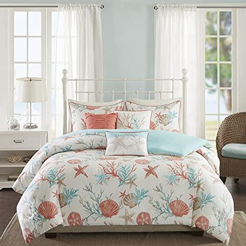 Madison Park Pebble Beach 100% Cotton Duvet Set-Coastal, Starfish, Sealife Design All Season, Breathable Comforter Cover Bedding, Matching Shams, Decorative Pillows, King(104'x92'), Coral, 6 Piece
