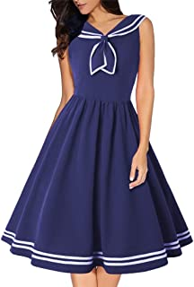 Lealac Women Fashion Vintage Dress 1950s Nautical Style Summer Sailor Collar Sleeveless Cute Cocktail Party Swing Dresses