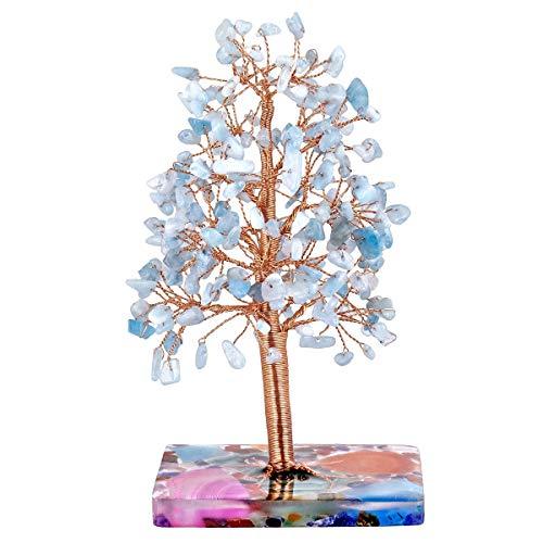 KYEYGWO Aquamarine - Árbol de cristal con base de ágata, alambre de cobre, árbol de dinero Feng Shui Bonsai para la suerte, riqueza y salud