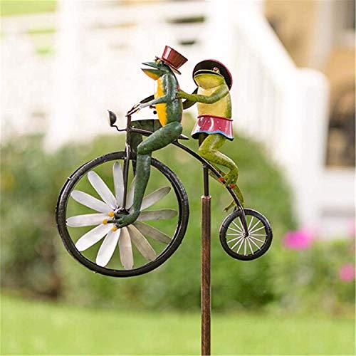 HJXX Spinner de Viento de Metal de Bicicleta Vintage, Lindo Animal en Bicicleta Spinner Mental, para Estatua, Escultura, Patio, decoración de césped (Frog)