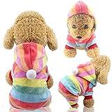 ZSWQ Abbigliamento Animale Domestico Inverno Cucciolo Classico Cappotto Caldo Inverno Lavorato a Maglia Maglioncino per Cani Gatto Adatto a Cani di Piccola e Media Taglia (M Arcobaleno)